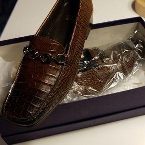 Stuart Weitzman leather embossed with jewels